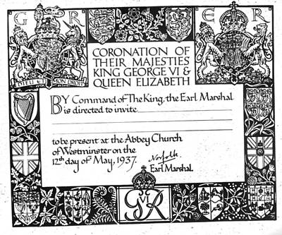 Invitation To The Coronation Of King Poster by Everett