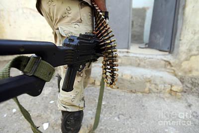 Iraqi Soldiers Carrying Machine Guns Poster
