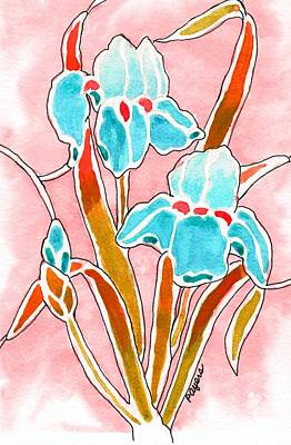 Poster featuring the painting Irises With An Attitude by Paula Ayers