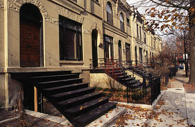 Iron Steps And Entrances In Row Houses Poster