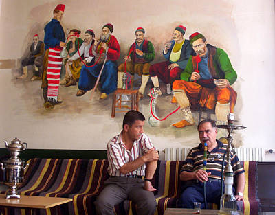 Poster featuring the photograph Istanbul Smokers by Lou Ann Bagnall