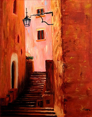 Poster featuring the painting Italian Alley by Suzzanna Frank