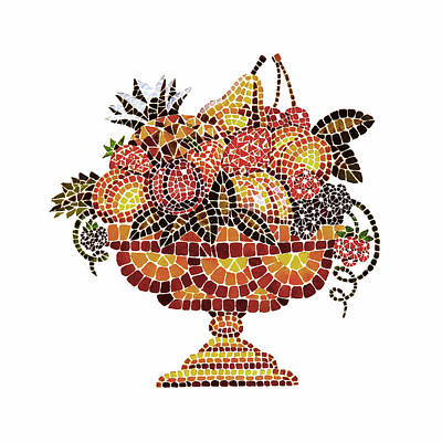 Italian Mosaic Vase With Fruits Poster