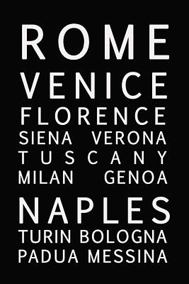 Italy Cities - Bus Roll Style Poster
