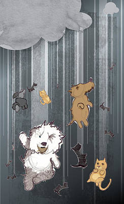 It's Raining Cats And Dogs Poster by Jim Howard