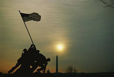 Iwo Jima Monument Silhouetted Poster