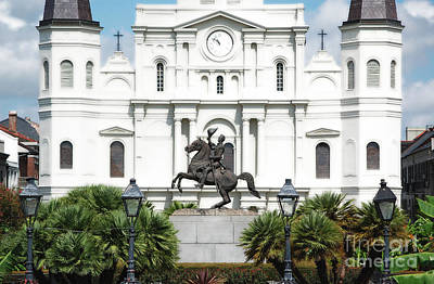 Jackson Statue And St Louis Cathedral French Quarter New Orleans Diffuse Glow Digital Art Poster
