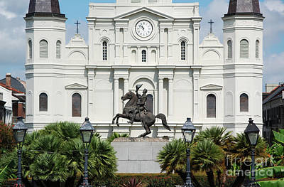 Jackson Statue And St Louis Cathedral French Quarter New Orleans Poster