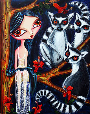 Poster featuring the painting Jane And The Lemurs by Leanne Wilkes