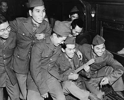 Japanese American Soldiers Enjoy Poster by Everett