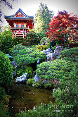 Japanese Garden With Pagoda And Pond Poster by Carol Groenen