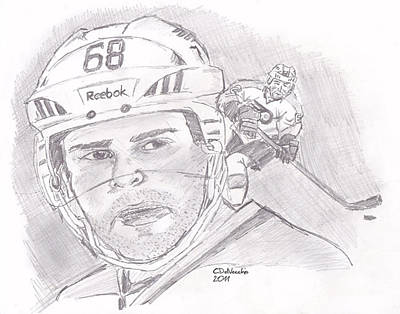 Poster featuring the drawing Jaromir Jagr by Chris  DelVecchio