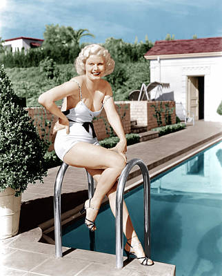 Jean Harlow Poses In Front Of Her Home Poster by Everett