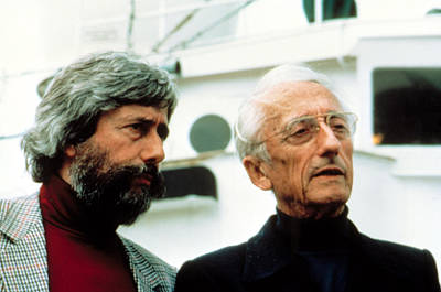 Jean-michel Cousteau And Father Jacques Poster by Everett