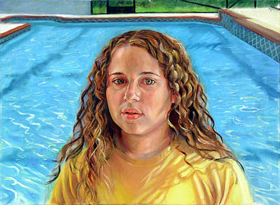 Poster featuring the painting Jeannie At The Pool by Nancy Tilles