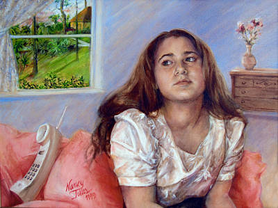 Poster featuring the painting Jeannie Waiting For A Call by Nancy Tilles