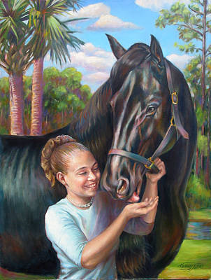 Poster featuring the painting Jeannie With Seiba's Gentle Touch by Nancy Tilles
