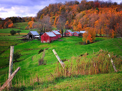 Jenne Farm-autumn Scenic From Reading Vermont  Poster by Thomas Schoeller