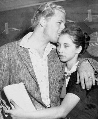 Jerry Lee Lewis Kisses His Bride Myra Poster by Everett