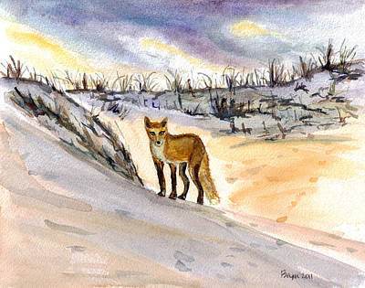 Poster featuring the painting Jersey Shore Fox by Clara Sue Beym
