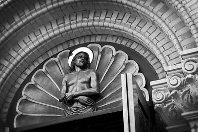 Jesus  Sculpture Above Cathedral Door Lintel Poster by Daniel Hagerman