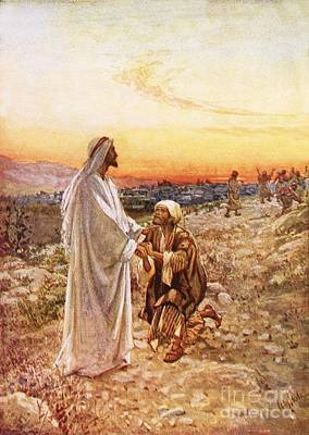 Jesus Withe The One Leper Who Returned To Give Thanks Poster by William Brassey Hole