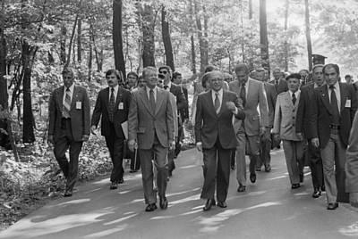 Jimmy Carter Menahem Begin And Israeli Poster by Everett