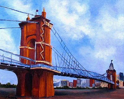 Poster featuring the painting John A. Roebling Bridge by Suzzanna Frank