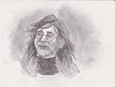 Poster featuring the drawing John Lennon- Legend by Chris  DelVecchio