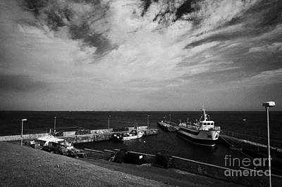 John Ogroats Harbour With Orkney Ferry Scotland Uk Poster