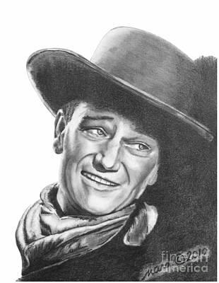 Poster featuring the drawing John Wayne   Dreamer by Marianne NANA Betts