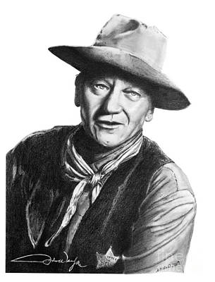 Poster featuring the drawing John Wayne  Sheriff by Marianne NANA Betts