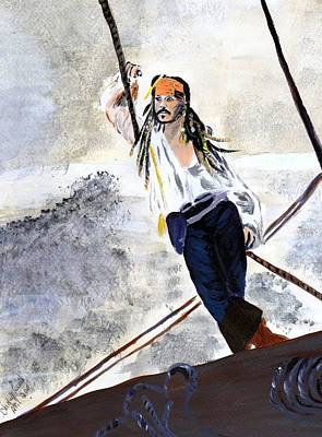 Poster featuring the painting Johnny Depp 8 by Audrey Pollitt