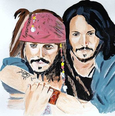 Poster featuring the painting Johnny Depp X 2 by Audrey Pollitt