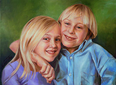 Poster featuring the painting Jonathan And Jessica by Nancy Tilles