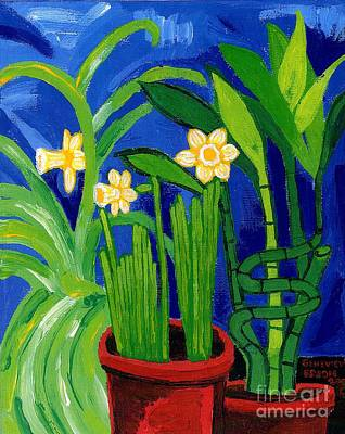 Jonquils And Bamboo Plant Poster by Genevieve Esson