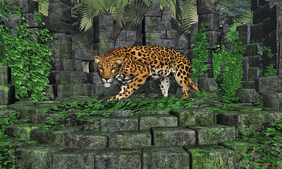 Poster featuring the digital art Jungle Ruins Jaguar by Walter Colvin