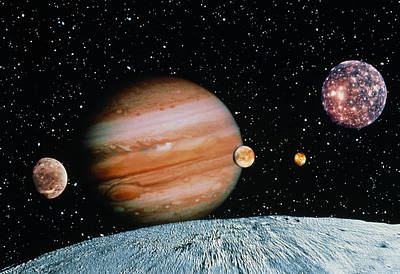 Jupiter And The Galilean Moons Seen From Leda Poster