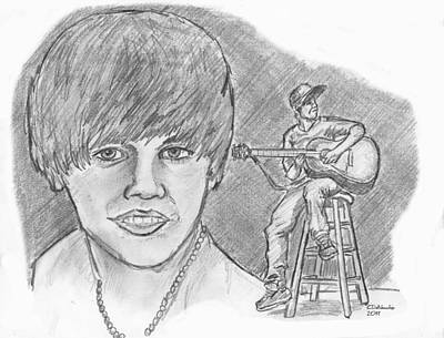 Poster featuring the drawing Justin Bieber- Bieber Fever by Chris  DelVecchio