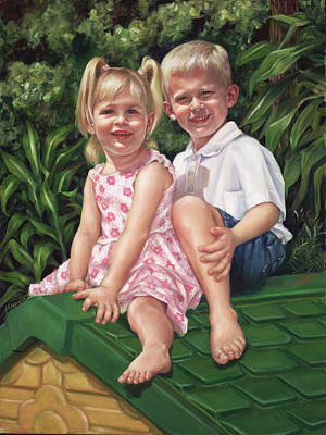 Poster featuring the painting Katie And Mitchell by Nancy Tilles