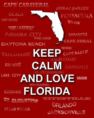Keep Calm And Love Florida State Map City Typography Poster