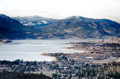 Kelowna Winter View Across The Lake And Bridge Poster by Andy Smy