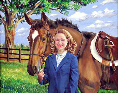 Poster featuring the painting Kendall And Her Horse by Nancy Tilles
