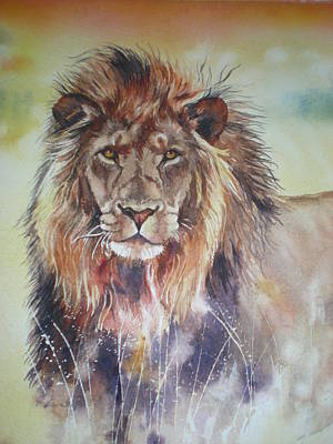 Poster featuring the painting Kenyan Lion by Sandra Phryce-Jones