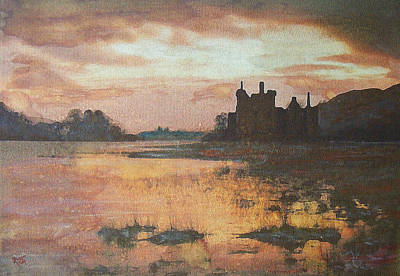 Poster featuring the painting Kilchurn Castle Scotland by Richard James Digance
