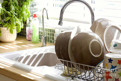 Kitchen Sink And Washing Up In Summer Sunlight Poster by Simon Bratt Photography LRPS