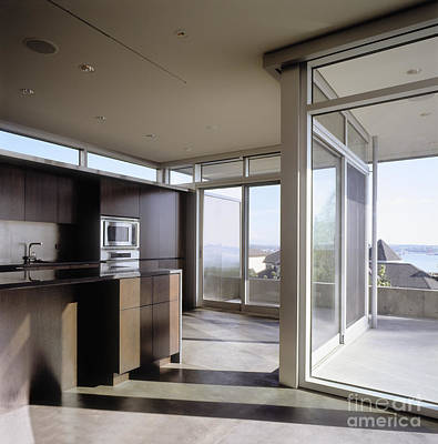 Kitchen With Glass Sliding Doors Poster