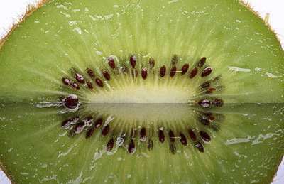 Kiwi Fruit Reflected On Glass Poster