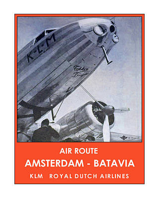Klm Amsterdam Batavia Poster by Nick Diemel
