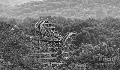 Knobels Wooden Roller Coaster Black And White Poster by Paul Ward